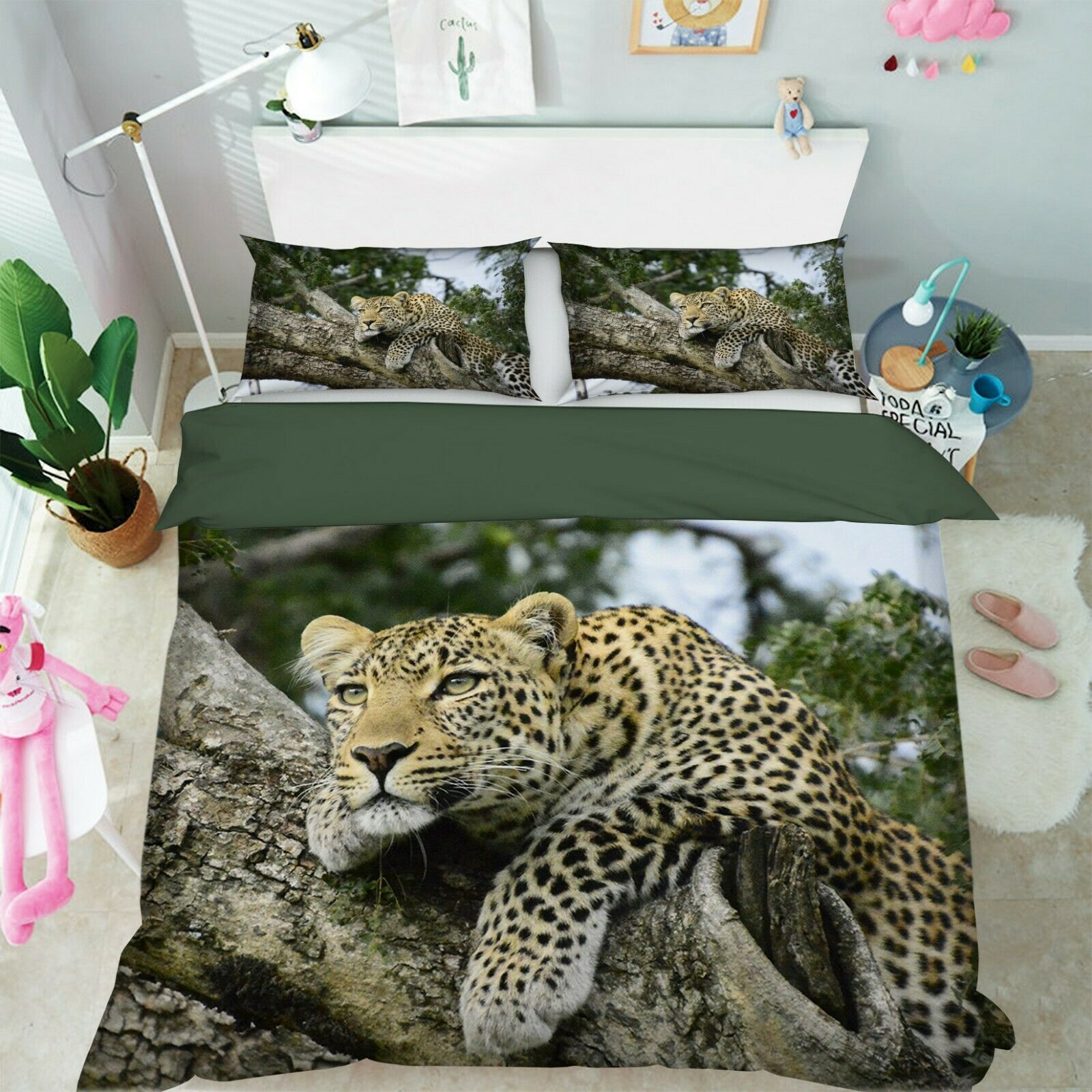 3D Leopard O68 Animal Bed Pillowcases Quilt Duvet Cover Set Queen King Amy