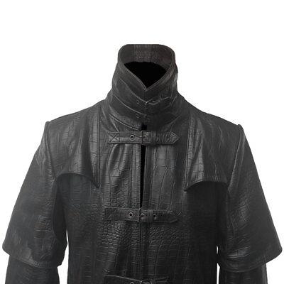 Mens Bikers Vest Black Crocodile Print Leather Black Sleeveless Waistcoat