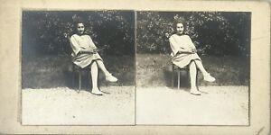 Jeune Donna Foto Stereo Vintage Analogica c1900