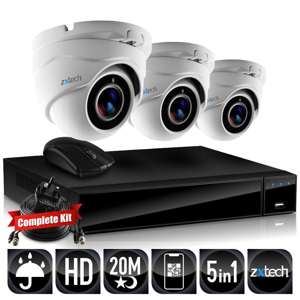 3x Ir Infrarrojo HD Resistente Agua Cámaras CCTV Hibrido Grabadora Completa Kit