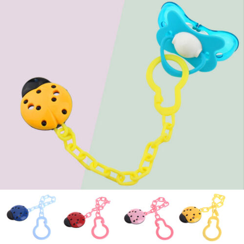 Cute Toddler Baby Ladybug Dummy Pacifier Clip Soother Nipple Strap Chain Holder