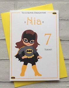 Image Is Loading Handmade Personalised Bat Girl Superhero Birthday Card Daughter