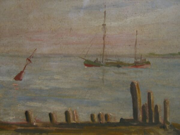 Impresionista Walter Moll ° Ebbstrom Am Noche ° Correo Bremen Vogelsang Aceite