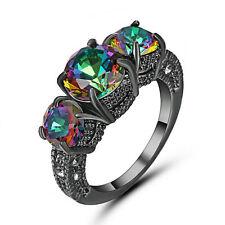 Mystic Rainbow Sapphire Vintage Wedding Ring 10KT Black Gold Fillled Size 8