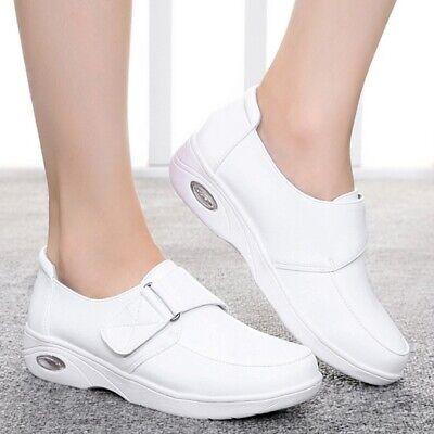 White Womens Leather Wedge Heel Buckle