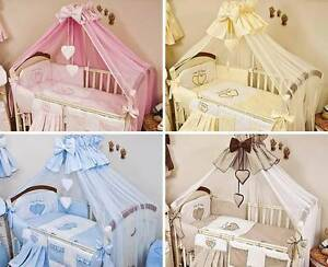Image is loading Luxury-10-Piece-Baby-Cot-Bedding-Set-Cotbed- : cot canopy net - memphite.com