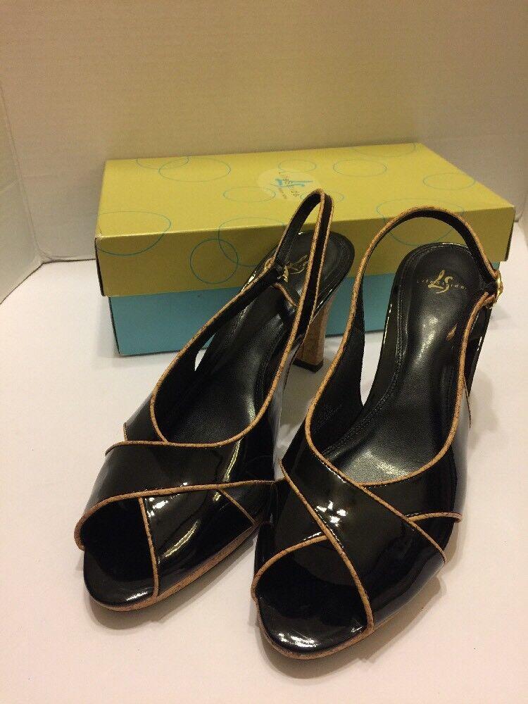 Life Stride Sling Women's Shoes 10m Black Sling Stride Back Open Peep Toe Cork Heel d4e508