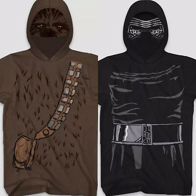 Star Wars Chewbacca Short Sleeve Hooded Mask T-Shirt~Halloween//Cosplay Costume