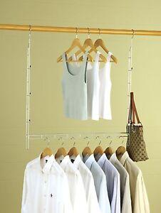 Closet Organizer Storage Double Clothes Wardrobe Hanger Garment Home Hanging New Ebay