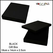 12 Black Jewellery Box Rectangle Necklace Gift Box 18x14cm