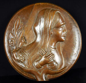 Signed-L-Boucher-Virgin-Marie-Medallion-Religious-Top-Relief-Virgin-Maria-30-CM