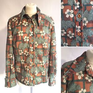 Vintage-1960s-70s-Green-Orange-Tree-Print-Shirt-Huge-Collar-Size-12-14-16