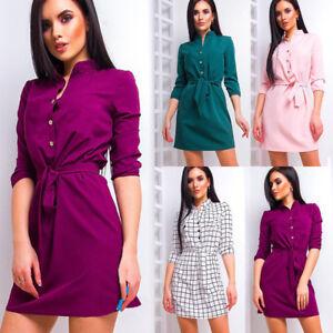 Womens-Blouse-Chiffon-Long-Sleeve-Ladies-Shirt-Dress-Loose-Short-Casual-Tops