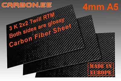 Twill 100% Real Carbon Fiber 6mm 3K Sheet A5 For Carbon Fiber Quadcopter Frame