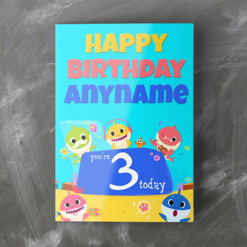 BABY SHARK PINKFONG Personalised Birthday Card Daughter Son Baby Granddaughter
