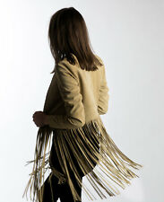 THE PERFEXT BEIGE SUEDE CHRISTY FRINGE JACKET XS