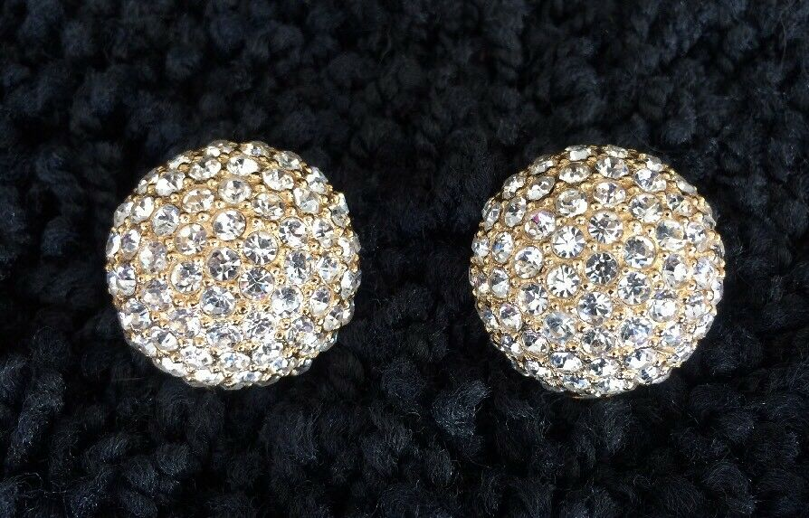 Christian Dior Rhinestone Clip Earrings Vintage 1… - image 1