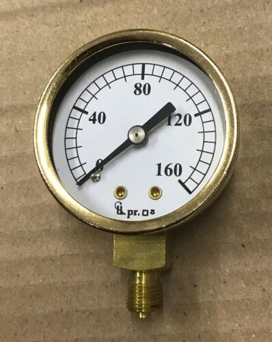 "2/"" dia Pressure gauge 0-160 PSI Live steam"