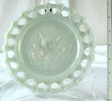 Vintage Lovely Angel Playing Mandolin Milk Glass Floral Lacy Border Plate
