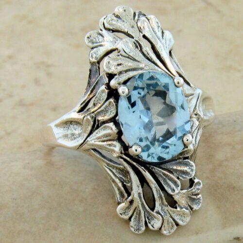 GENUINE SKY BLUE TOPAZ ART NOUVEAU 925 STERLING SILVER RING SIZE 10 #915 3 CT