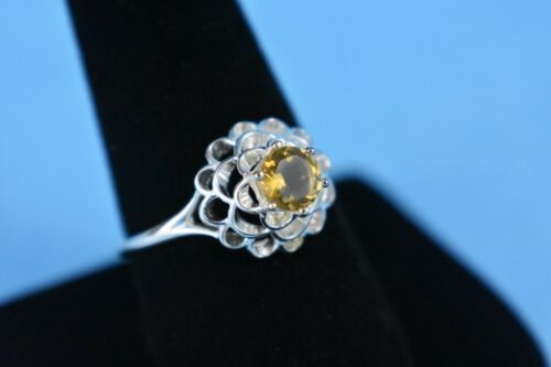 NEW Sterling Silver Champagne Quartz Flower Ring by AVON Size 10 NO Box