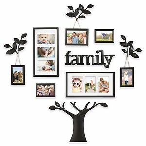 12 Piece Collage Picture Photo Family Tree Frame Set Black Wall Art
