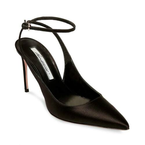 Brian Atwood VICKY Pump Black Satin Pointed Toe Dress Formal Pumps Ankle Strap
