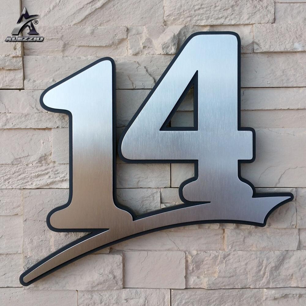 Edelstahl Hausnummer 14, 17cm,20cm,30cm,1-999,a-e, anthrazitgraues Plexiglas