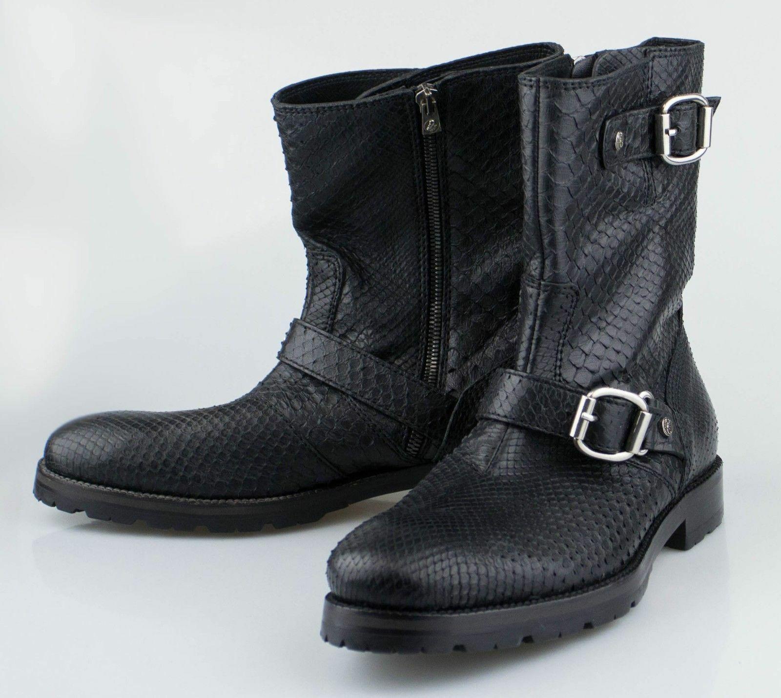 Nuevas botas JIMMY CHOO negro piel de serpiente pitón zapatos US 40.5 EU
