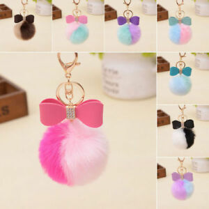 Fashion Leather Bow Fluffy Rabbit Fur PomPon Ball Handbags Keychain DE