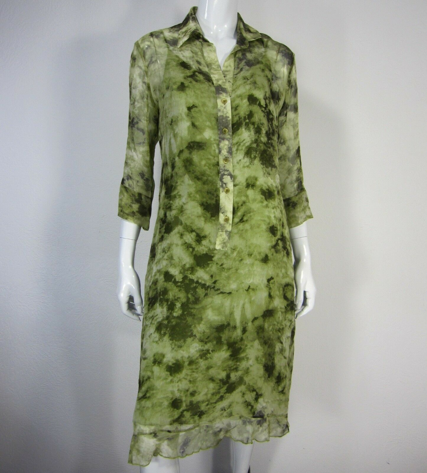 Dress Poleci 3 4 4 4 sleeve lined Silk tunic dress size L Large large green f36d9a