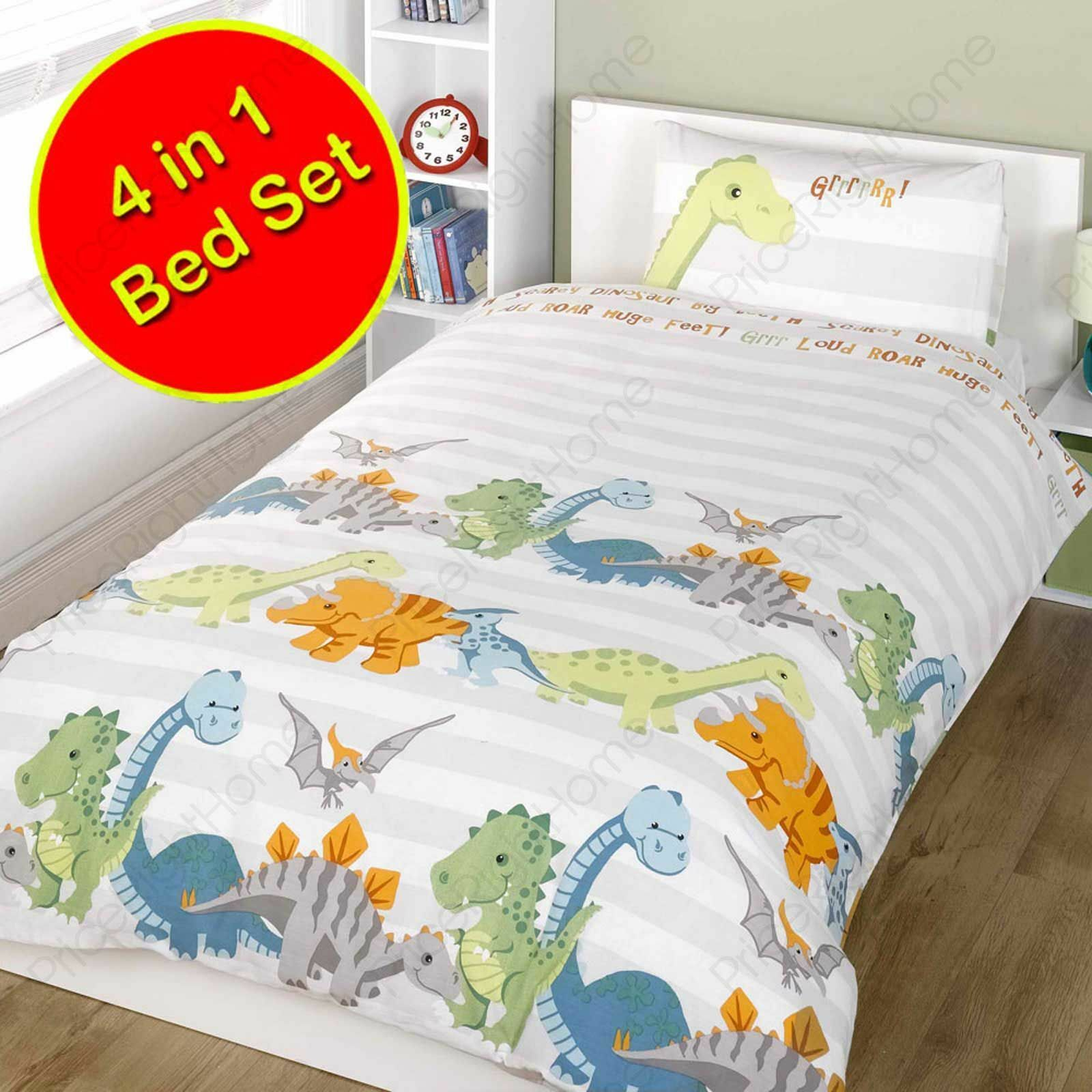 DINOSAURS NATURAL 4 in 1 JUNIOR BEDDING BUNDLE DUVET COVER SET TODDLER