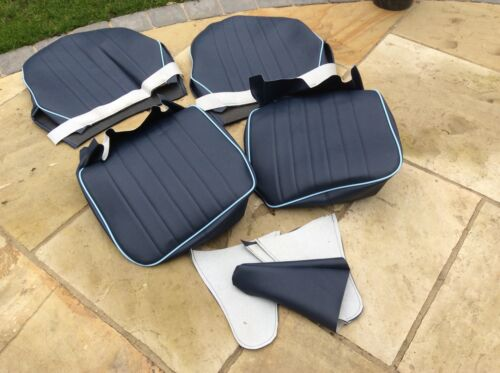 AUSTIN HEALEY FROGEYE SPRITE SEAT COVERS  bugeye Navy Blue//light Blue Piping