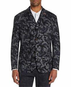 Tallia Mens Blazer Jacket Black Gray Medium M Knit Camo Leopard-Print $198 103