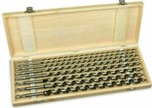 8-tlg-Schlangenbohrer-Set-Holzbohrer-Bohrer-extra-lang-46-cm-im-Holzkasten