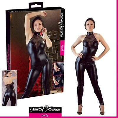 Ben Informato Sexy Donna Tuta Nera Wetlook E Pizzo Jumpsuit Madison Cottelli Party Lingerie Vendita Calda Di Prodotti