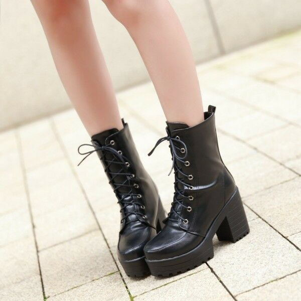 Womens Punk High Chunky Heels Lace Up Combat Platform High Top Boots Motor shoes