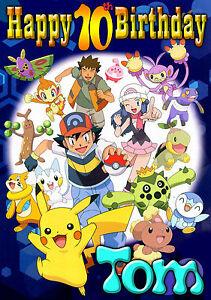 Pokemon Happy Birthday Personnalise Greeting Art Carte Tout Joyeux Anniversaire Go Ebay