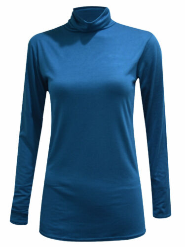 LADIES LONG SLEEVE PLAIN POLO NECK ROLL NECK TOP WOMENS TURTLE NECK JUMPER 8-26