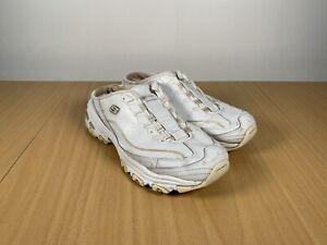 Skechers-Femme-Sabot-d-lites-Mules-Baskets-Chaussons-Taille-UK-7-EUR-40-BLANC
