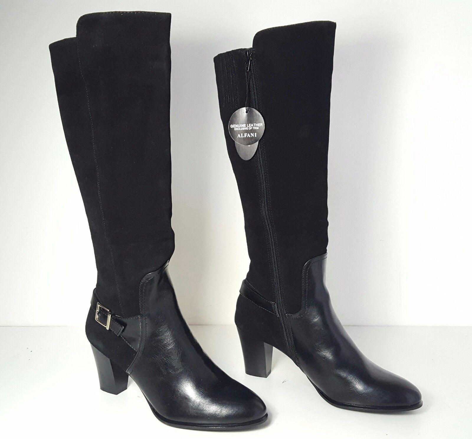 9 size 11 Alfani Careeni Black Leather Heels knee High Boots Womens shoes NEW