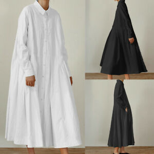 Women-Plus-Size-Long-Sleeve-Maxi-Kaftan-Caftan-Baggy-Swing-Flared-OL-Shirt-Dress
