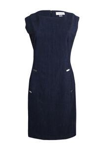 Calvin-Klein-Women-039-s-Petite-Embellished-Denim-Sheath-Dress