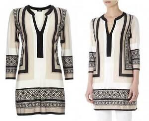 Wallis-top-cream-black-beige-fluid-tunic-top-kaftan-blouse-size-S-XS-New