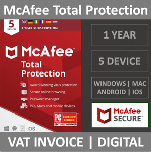 McAfee Total Protection 2021 | 5 Devices | 1 Year | PC/Mac/Phone | Security