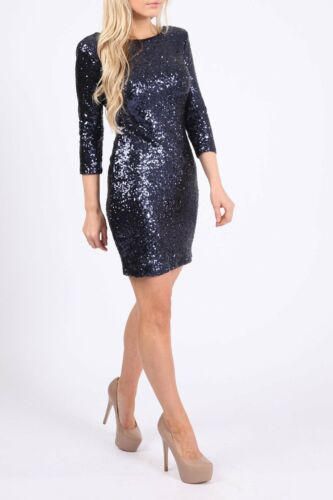LADIES V BACK SEQUINS BODYCON CHRISTMAS PARTY DRESS WOMENS COCKTAIL CLUB WEAR