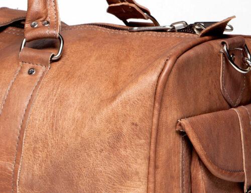 "24/"" New Men/'s Vintage Genuine Leather Cowhide Traveler Luggage Duffle Gym Bags"