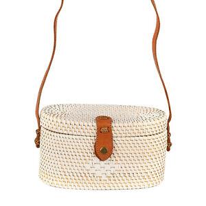 Handwoven Oval Shaped Rattan Bag with Leather Strap Women Fashion Handbag