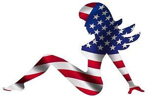 MUDFLAP GIRL AMERICAN USA FLAG STICKER RIGHT LAPTOP STICKER HARD HAT STICKER