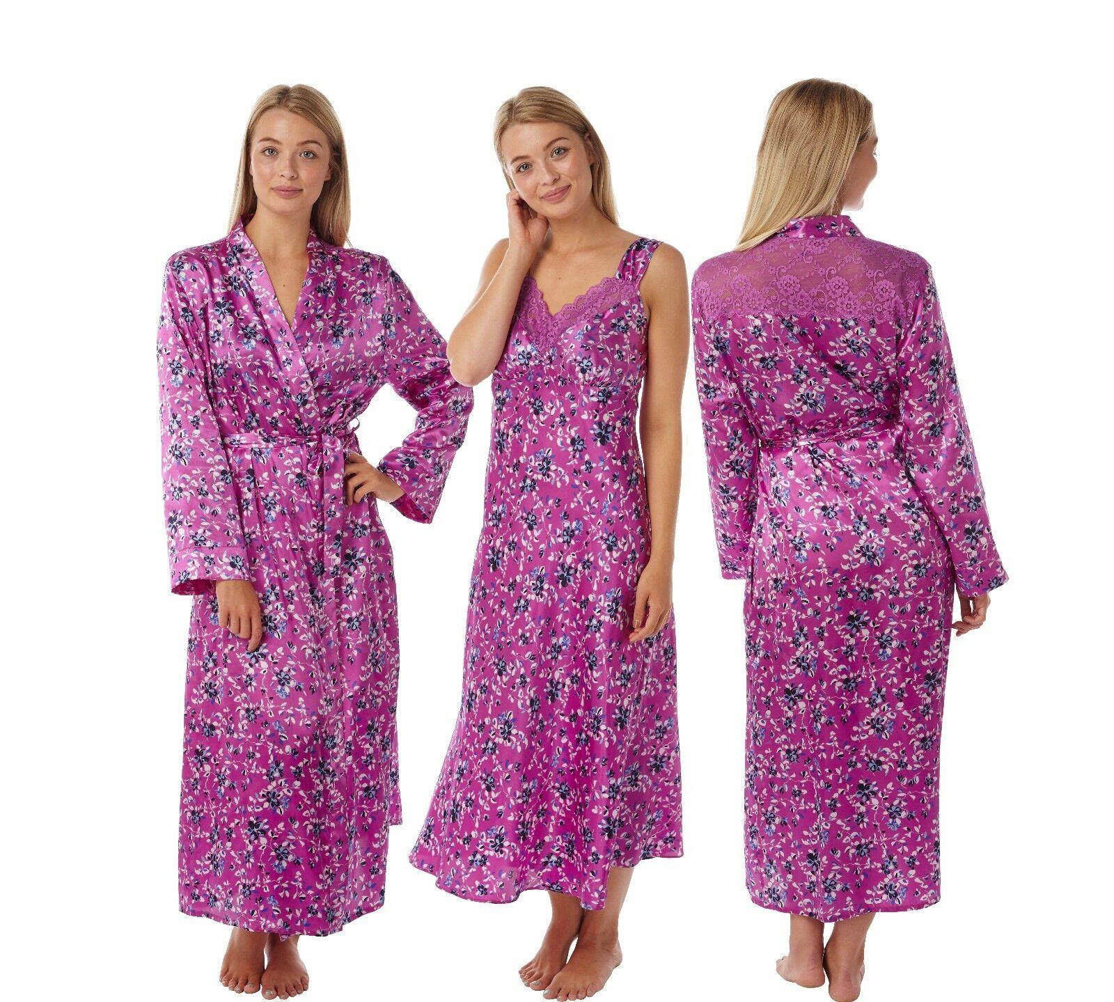 Ladies Pink Floral Long Satin Lace Nightdress Chemise Nightshirt Wrap Kimono